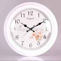 White Wooden  Wall Clocks Safe Room Decoration Single Clock Round Wall Clock