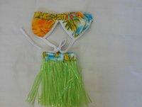 Hawaiian Pet Dog Costume Bikini Hula Skirt Swimming Suit Size S