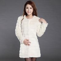 2014 Medium-long women's winter faux rabbit fur coat fur vest short design female overcoat new fashion outerwear trench