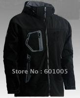 New Men's outdoor soft shell black jacket size S-XXL#02