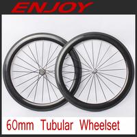 Carbon fiber road wheel 60mm tubular,  20/24 external holes