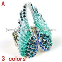 Retail/wholesale 2014 Exclusive Design punk Austrian Rhinestone Fashion Angel Wing Ring Excellent Quality ,3 colors,RN-618