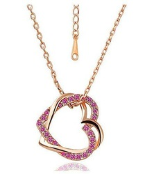 Free Shipping 18K Gold Plated Double Hearts Necklace Rhinestone Austria Crystal Necklace K157(China (Mainland))