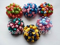 12pcs  mix color handmade Grosgrain Ribbon ball DIY hairbows ribbon craft  2.5""