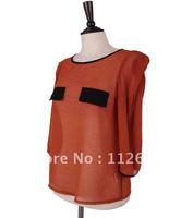 Imitate  silk  chiffon  half  sleeves  ladies  blouse with  contrast  pocket