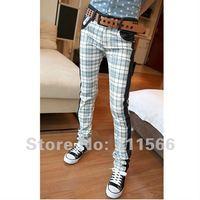 Free shipping New  Fashion Mens Pants Slim fit long Jeans wear jeans Scotland plaid 1 color Asian size 28-33 K008