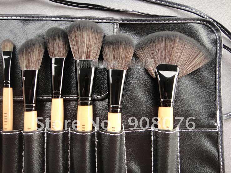Best selling!! 2012 new Good synthetic hair makeup brush brushes set Leather bag 24pcs/set Free shippiing(China (Mainland))