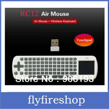 Free Shipping RC12 Mini Fly Air Mouse 2.4GHz Wireless Keyboard for Google Android 4.0 Mini PC TV Box