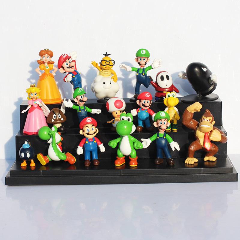 18pcs/set Super Mario Bros yoshi dinosaur Peach toad Goomba PVC Action Figures toy Free Shipping(China (Mainland))