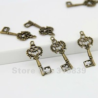 100pcs/lot 12*28mm Two Plated Vintage Metal Alloy Hollow Terror Keys Charms Jewelry Pendant Making 6540
