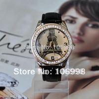 Fashion Women's Quartz Watch Leather Eiffel Tower Watches Casual Rhinestone Dress Lady Wristwatches New A722#