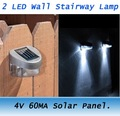 Freeshipping 6PCS Outdoor Solar Powered 2 LED Wall Stairway Mount Garden Light