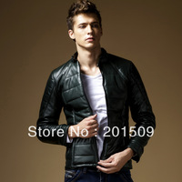 New Mens down cotton jacket PU leather parka winter outerwear coats military jackets for men pea coat