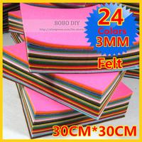 FREE SHIPPING 3MM  24pcs 30CM*30CM/piece felt fabric,DIY felt Square, Polyester non-woven felt Set,24 mixed colors/lot  B201303