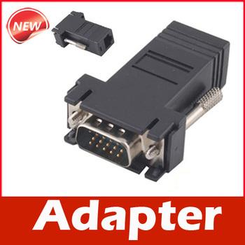 VGA Extender Male to LAN CAT5 CAT6 RJ45 Network Cable Female Adapter Kit