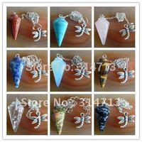 9pcs/lot Wholesale mixed gemstone Pendulum semi-precious jewelry pendant bead