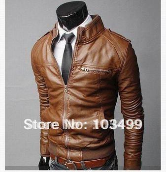 Wholesale - Men's Horizontal zipper Slim washing Faux Leather motorcycle Jackets imitation leather Coat Outerwear