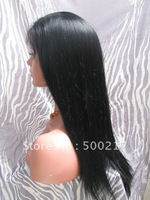 "Stock Glueless Full Lace Wig 8""-20"" Yaki Straight #1 Jet Black Indian Remy Hair Wigs Free Shipping"