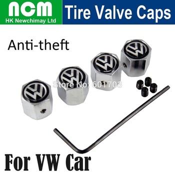 4PCS/Set Anti-theft Car Wheel Tire Valve Caps Fit for Volkswagen Cars VW Metal Tyre Valve stems Black