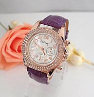 Wholesale women wristwatches ladies rhinestone  fashion leather strap quartz watch Women watches   nw334
