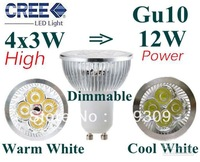 30pcs/lot GU10 4X3W 12W Dimmable LED LampLight Bulbs High Power light Free Shipping