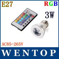 AC85-265V 16 Colors changing RGB LED Lamp 4.5W E27 RGB LED Bulb Lamp Spotlight with Remote Control free shipping