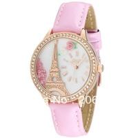 MN990P Fashion MINI watch 3D Eiffel Tower watch DIY Handmade Genuine Leather Quartz Ladies watch 1pc+free shipping