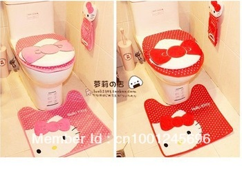 FREE SHIPPING! KAWAI Hello Kity toilet seat cover and cushion set,3pcs set