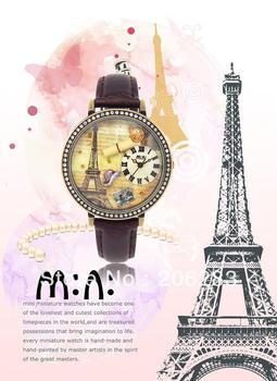 MN1038 MINI watch 3D Eiffel Tower watch DIY Handmade Genuine Leather Quartz Ladies watch 1pc+free shipping