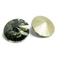 Free shipping(24pcs per lot) crystal round stone BLACK DIAMOND 18MM RIVOLI STONE