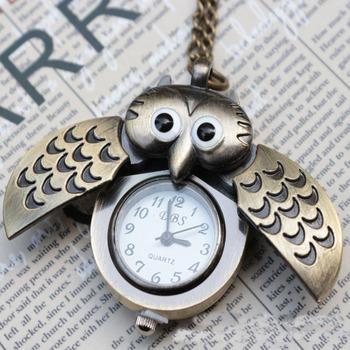 Vintage Owl Necklace Pendent Ladies Pocket Watch Bronze Bird Pocket Clock Hours Best Gift For Children Free Shipping