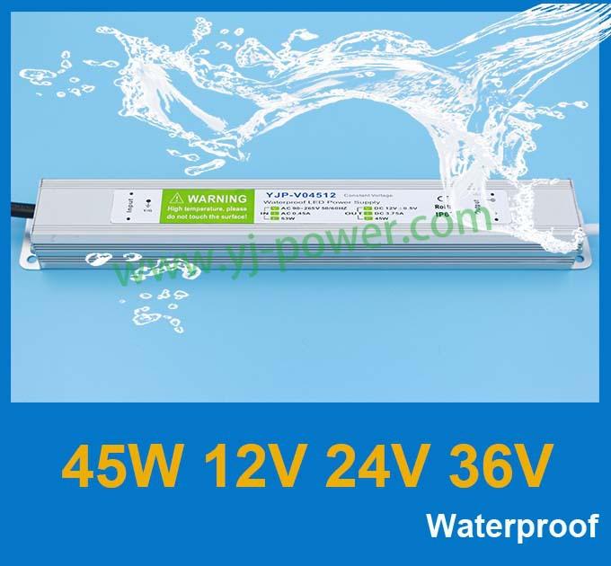 AC 90-264V power supply12v 45w|24V power transformer manufacturer,ROHS,CE,IP67,Fedex free shipping,50pcs/lot(China (Mainland))