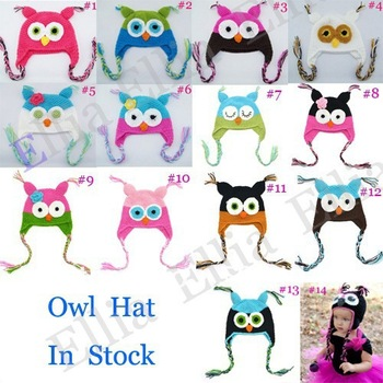 Kids Crochet owl earflap hat Owl Beanies Knitting animal hats Handmade Newborn caps winter hats 10pcs H021E