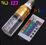 RGB 16 Colors Crystal led bulb E27 3W AC 85-265V LED Light Bulb +Remote Control,free shipping