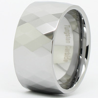 12MM Multi-Faceted Tungsten Carbide Men's Ring Wedding Band Silver Size 8 9 10 11 12 13 14 Free Ship