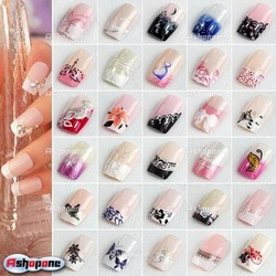 10x(24pcs/set) Pre Designed French Acrylic False Nail Full Tips with Free Nail Glue Free Shipping(China (Mainland))