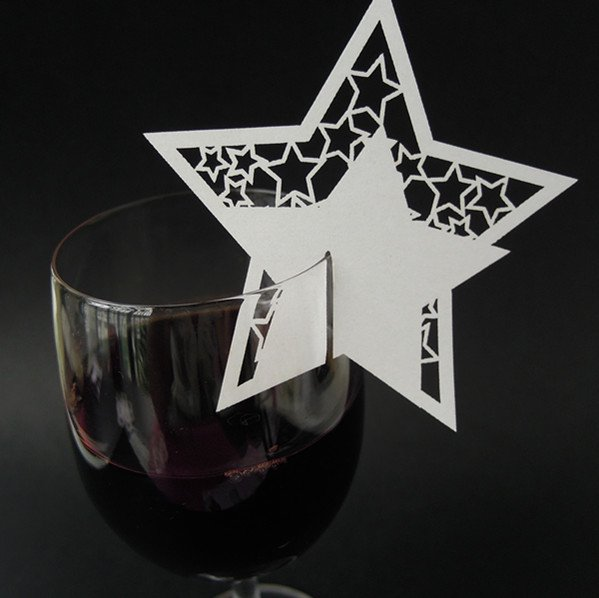 luxury Laser cut Star shape escort place card for and wedding and any party(China (Mainland))