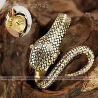Fashion Dramatic Mode Hidden Face Silvery Black Gold Snake Bracelet Jewelry Rhinestone Crystal Watch Women Party Dress Accessory