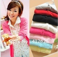 Promotion  New Fashion Korea V-neck candy color women cardigan knited sweater outwear tops can mix color Freeshipping