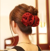Wholesale Satin Flower Hair Claw Flower Hair Bananas Barrette Free Shipping