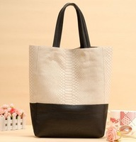 Hot! A/W for 2014 collection Fashion  Snake Pattern bucket handbag / large capacity tote patchwork shopping bags1202