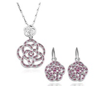 Min. order $15(mixed) 18K Gold Plated Rhinestone Wrap Flower Jewelry Sets Austrian SW  Crystal new