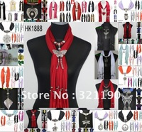 scarf jewelry New pendants scarf with jewellery cotton soft scarves beads Mix design & Colors DHL