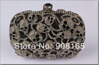 Free Shipping New 2014 Luxury Skull Punk Crystal bag Fashion women handbag Gorgeous Evening Clutch bag