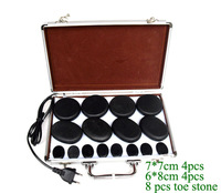 16pcs /lot Massage stones massage lava Natural Energy massage stone set hot spa rock basalt stone 16pcs with heater box