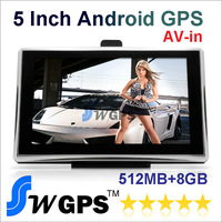 5 inch GPS navigation DDR3 512 MB Wifi + AV IN + FM with 8GB Memory Android4.0 OS. Free shipping
