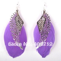 2014 HOT SALE! Free Shipping Feather Earring Angel Wings Purple Earring Fashion Feather Earring