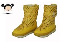 2014 Brand Sakura Children Shoes Snow Boots Kids Girls Winter Boots Warm Waterproof Chuteira Dot Patent Ankle Boots