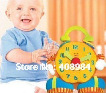 free shipping baby educational plush toy colorful smiling big ben activity clock toy