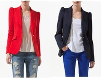 Gathered shoulder seam one button fitted women blazer Lady suit/1 piece Free shipping red black women blazer/Bee Fashion/DT074